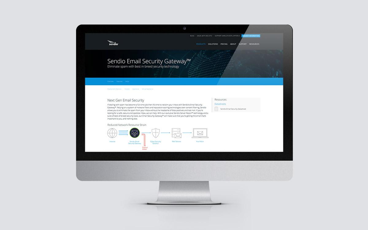 Sendio website design